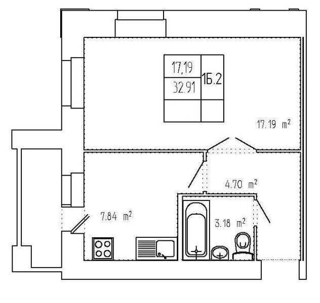 Планировка 1-комнатной
